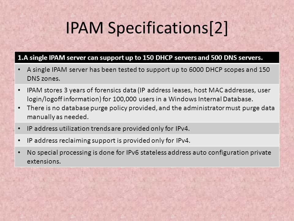 IPAM Specifications[2]